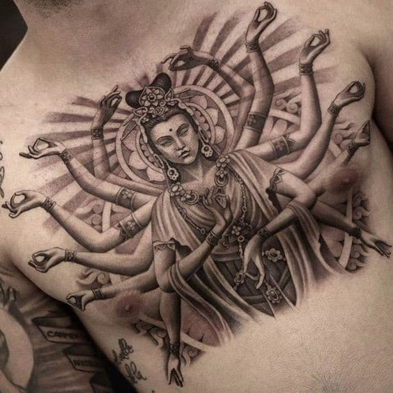 Chest Piece Of Gorgeous Symbols For Buddhist Lovers