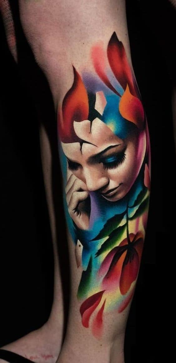Colorful And Romantic Buddha Inspired Female Tattoo