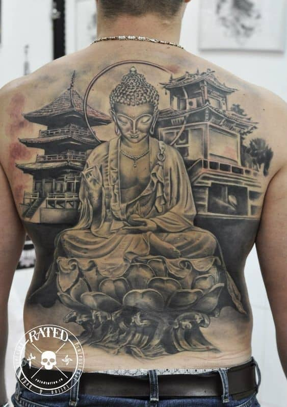 Detailed And Gorgeous Large Back Tattoo With Buddha Symbols