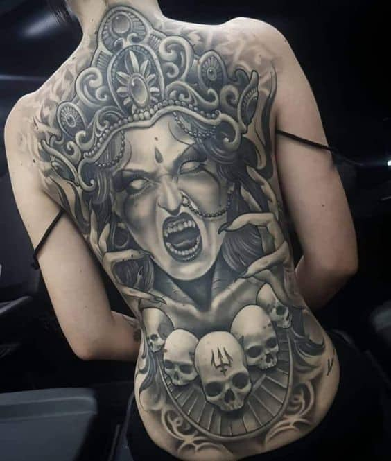 Large And Noticeable Buddha Tattoo Over Back