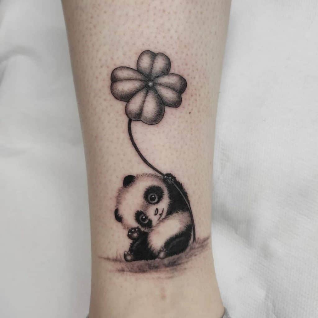 Baby Panda Tattoo Ideas With Flower Design