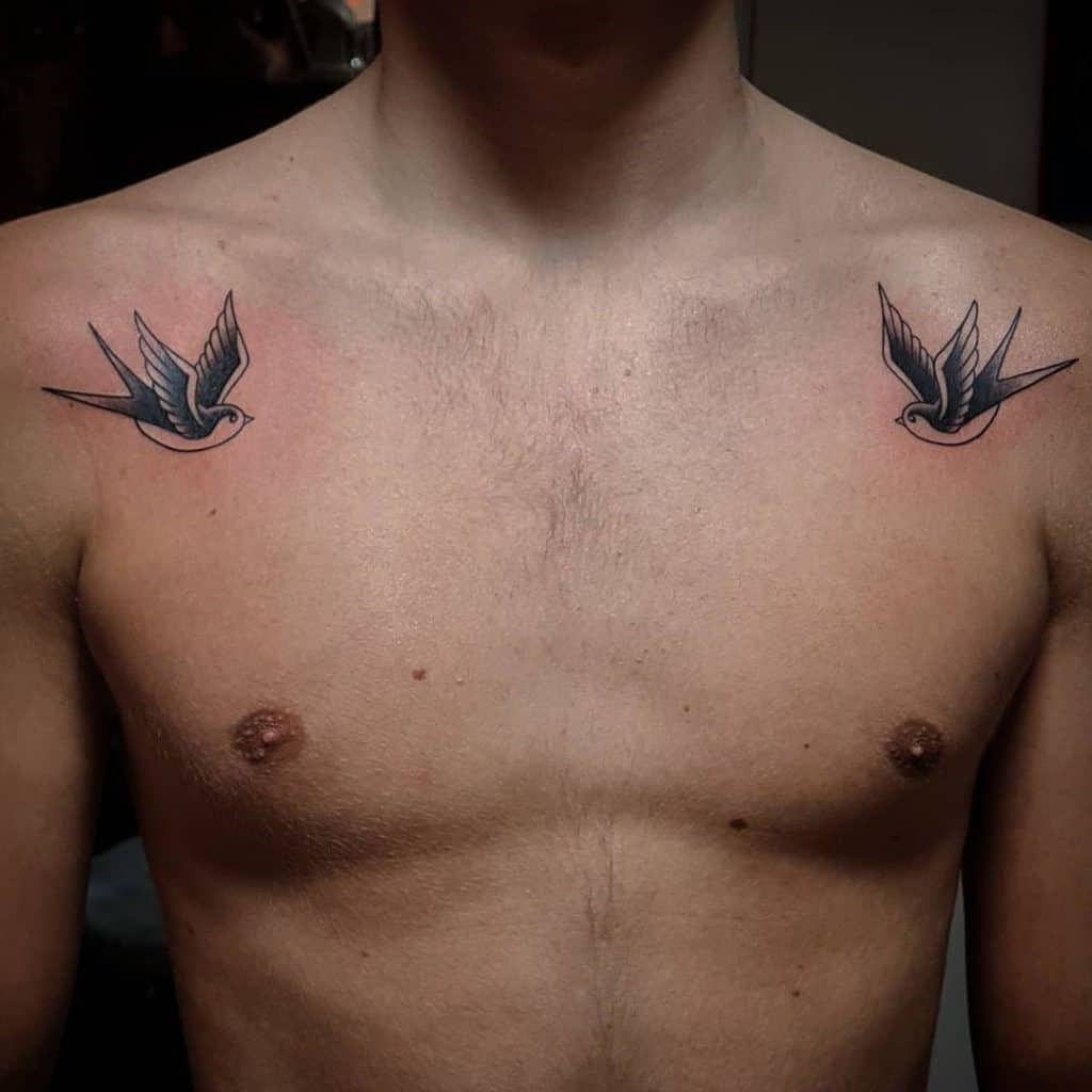 Chest Swallow Tattoo