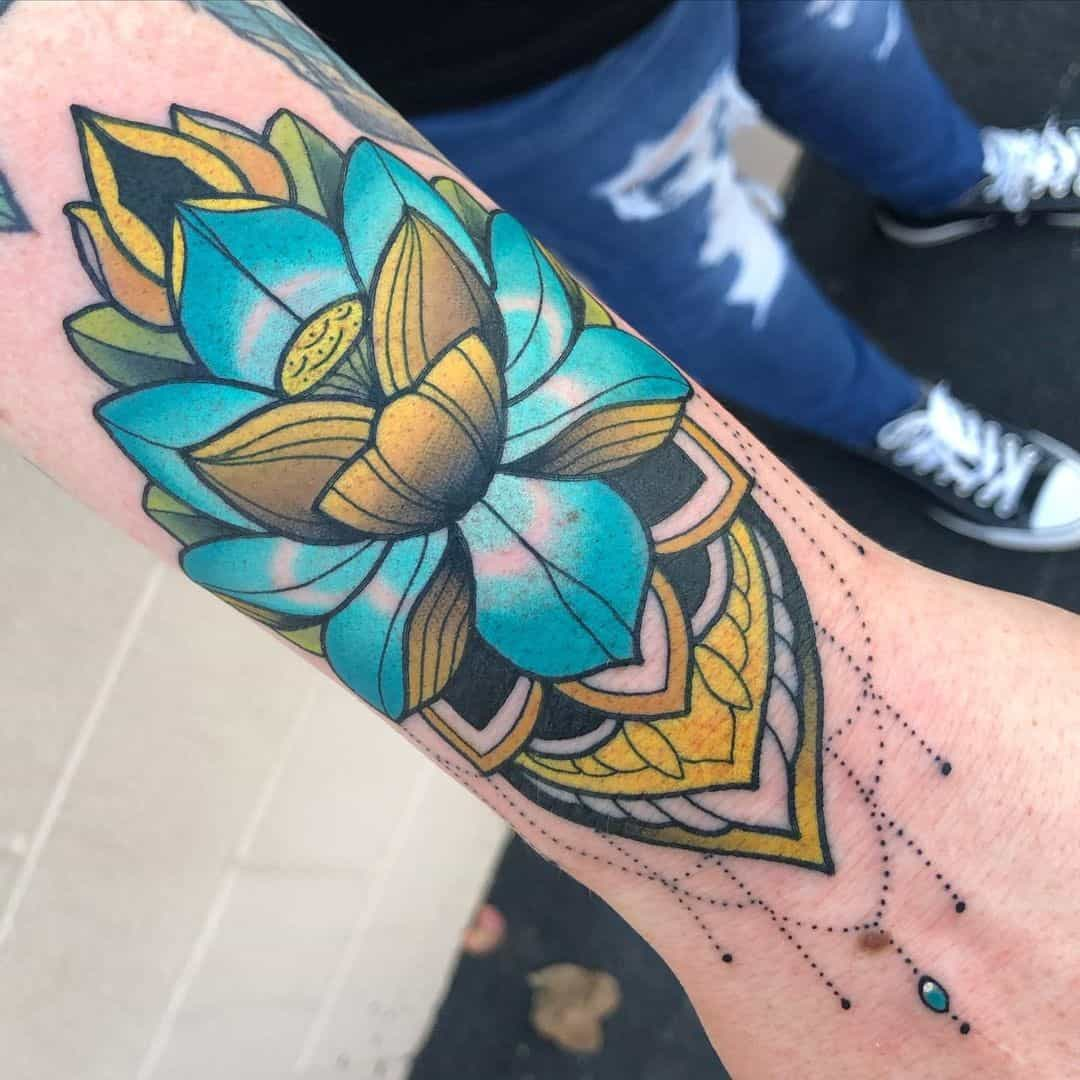 Colorful Lotus Flower Tattoo