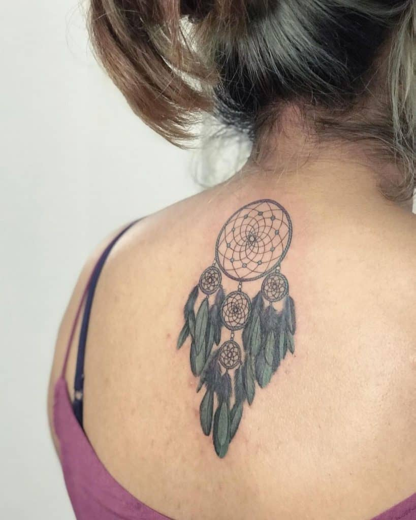 Dream Catcher Tattoo For Women With Feather Details