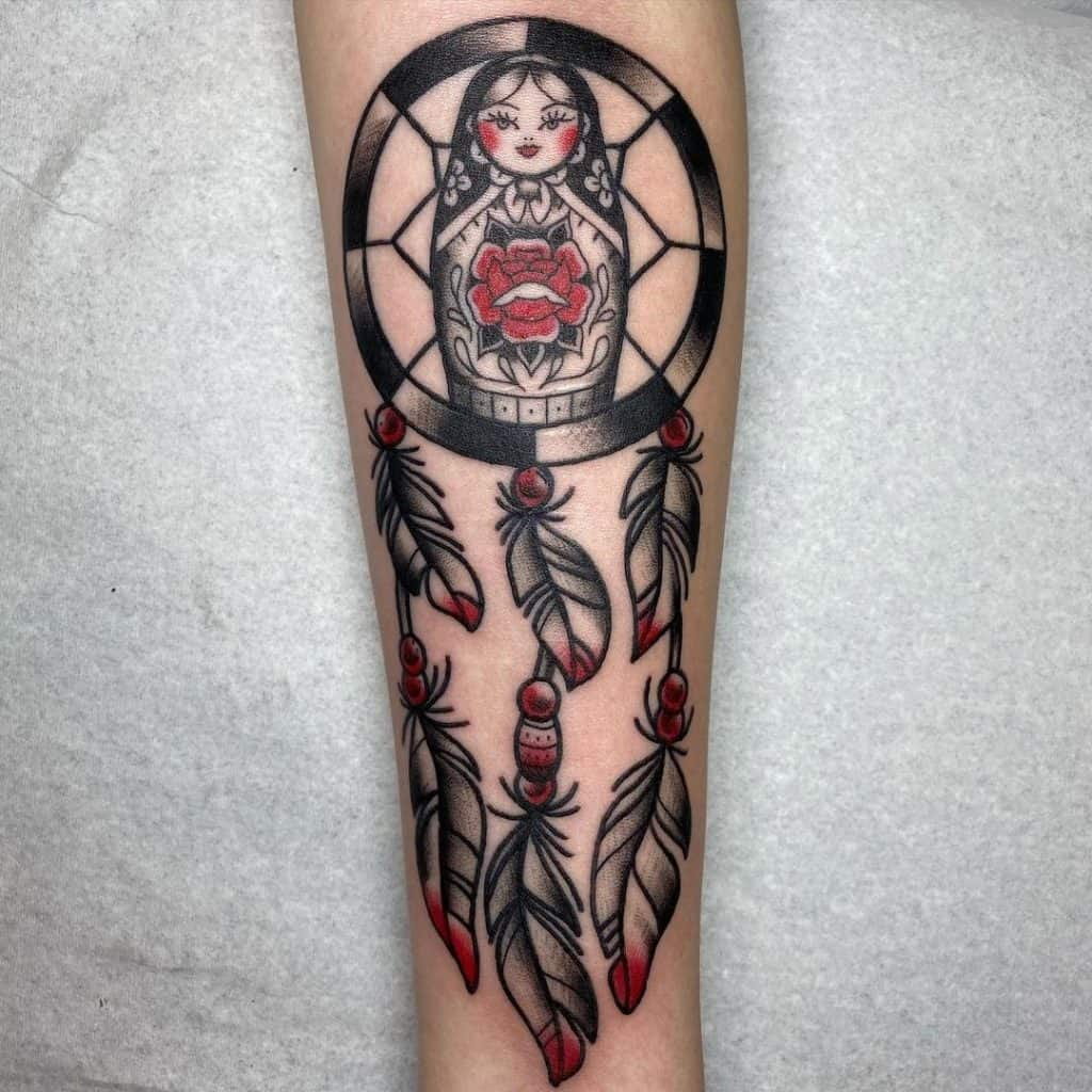 Dream Catcher Tattoo On Arm Black And Red