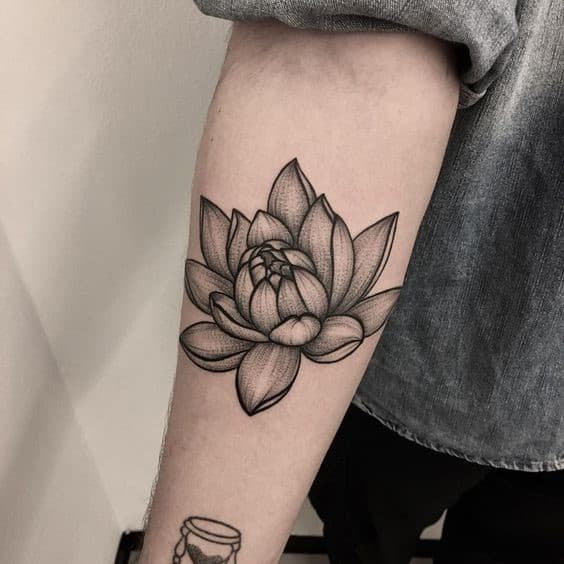 Forearm Lotus Flower Tattoo