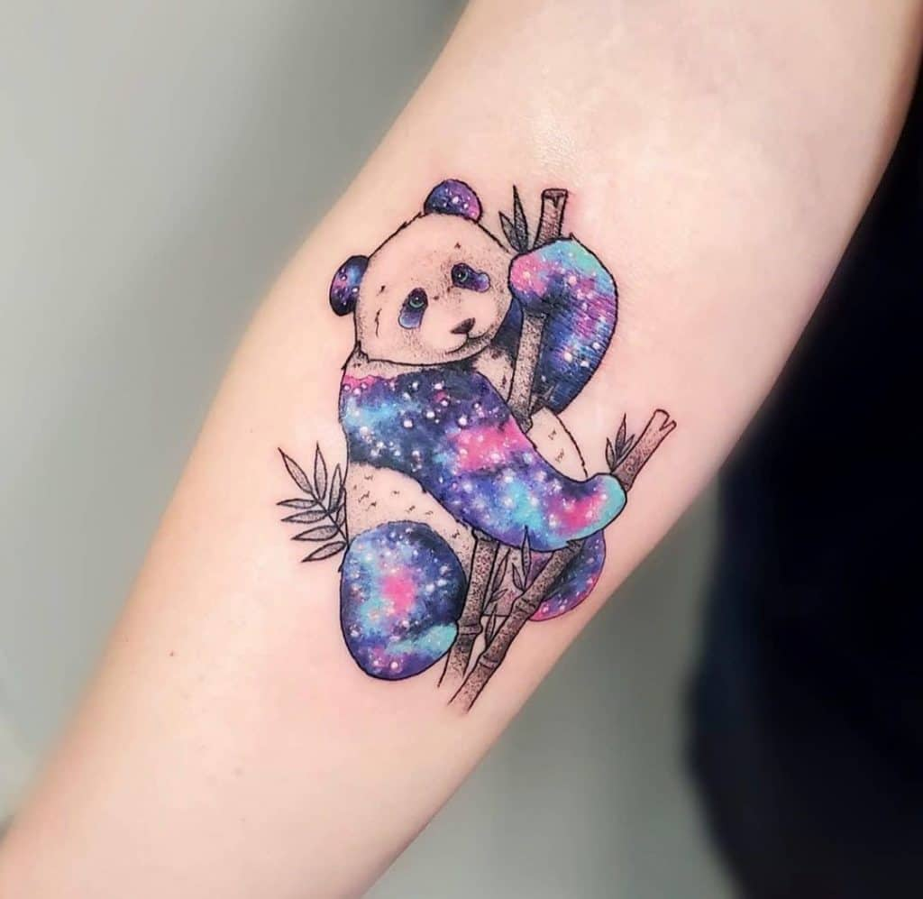 Galaxy Inspired Panda Tattoo Idea