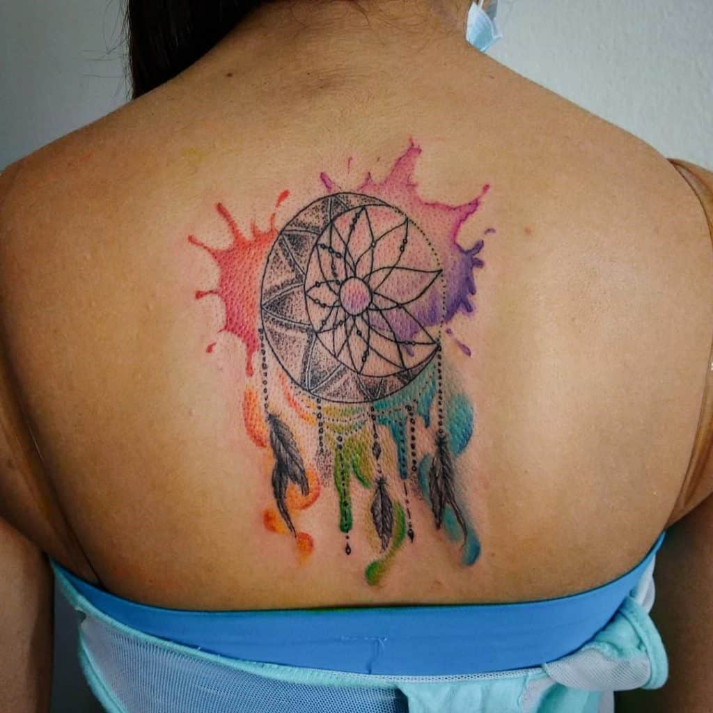 Gorgeous And Bright Back Piece Dream Catcher Tattoo For Women