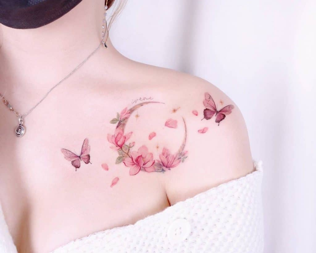 Gorgeous Pink Dream Catcher Tattoo On Chest