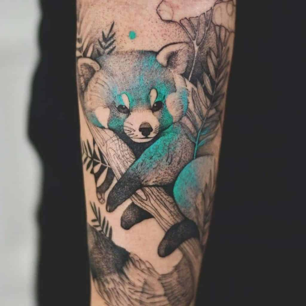 Panda Bear Tattoo In Blue Ink