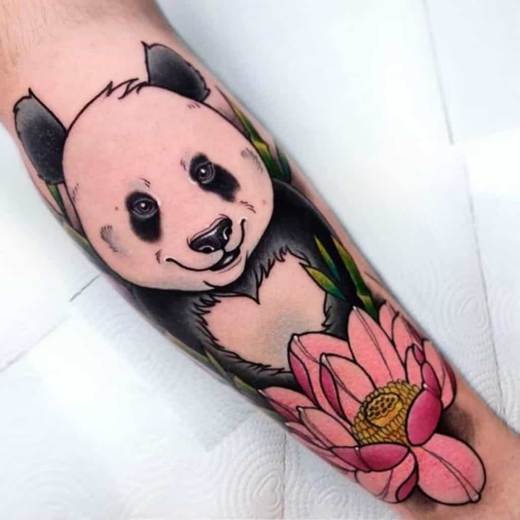 Panda Tattoo Design With Flower