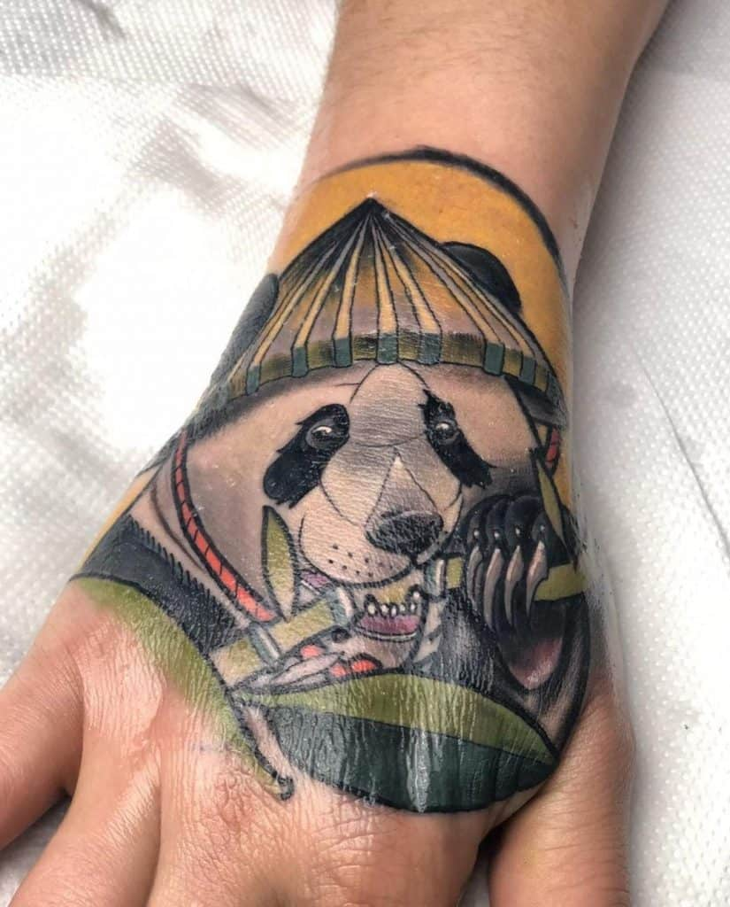 Panda Tattoo On Hand Idea