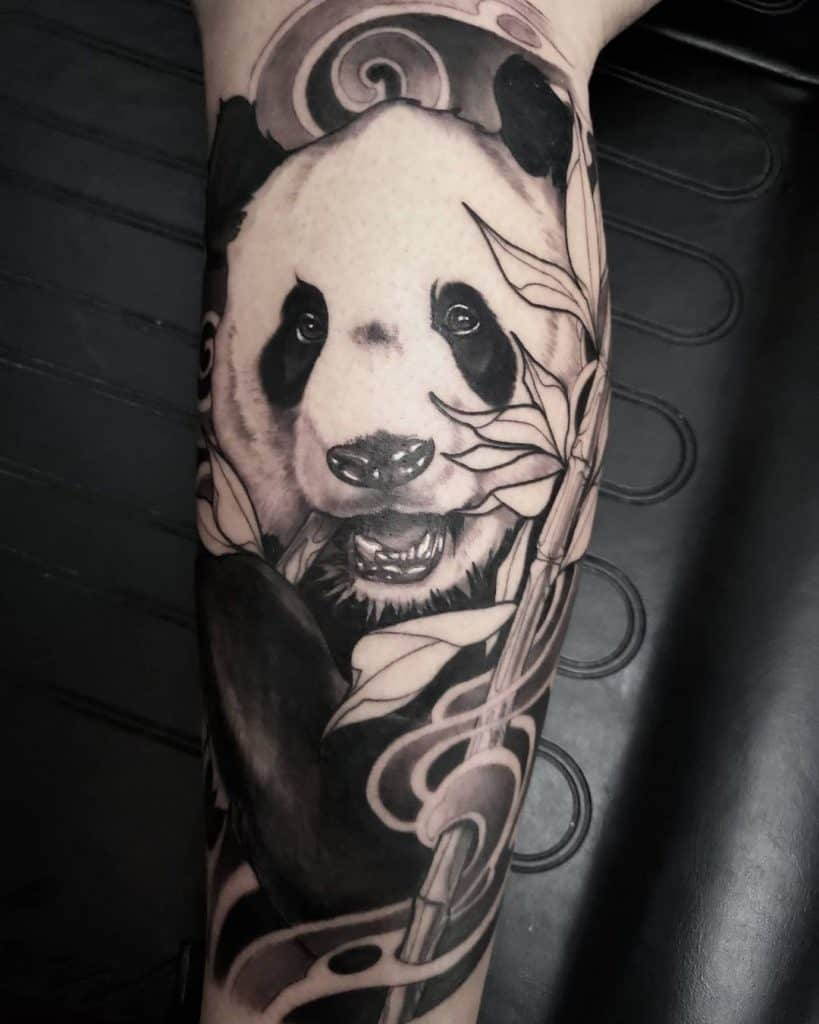 Panda Tattoo Sleeve Black Ink