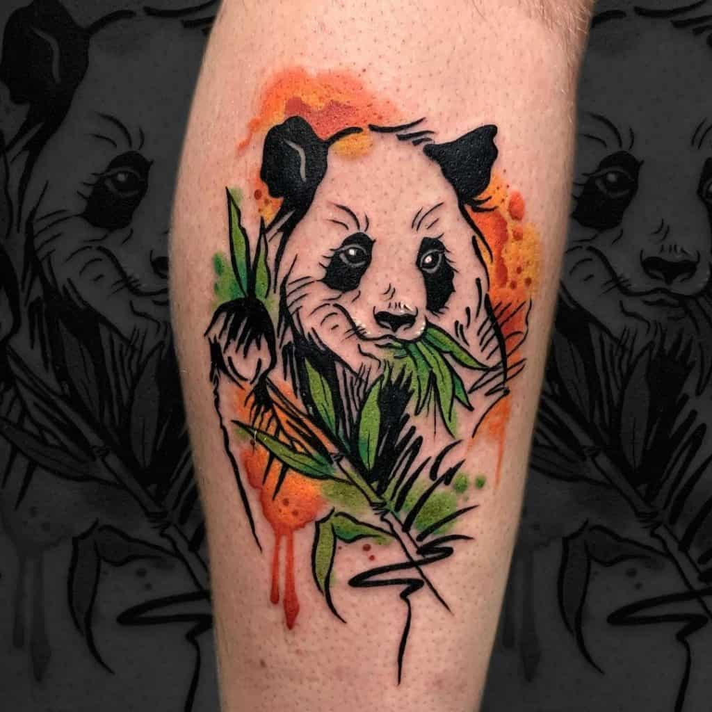 Panda Tattoos For Guys Bamboo Inspo