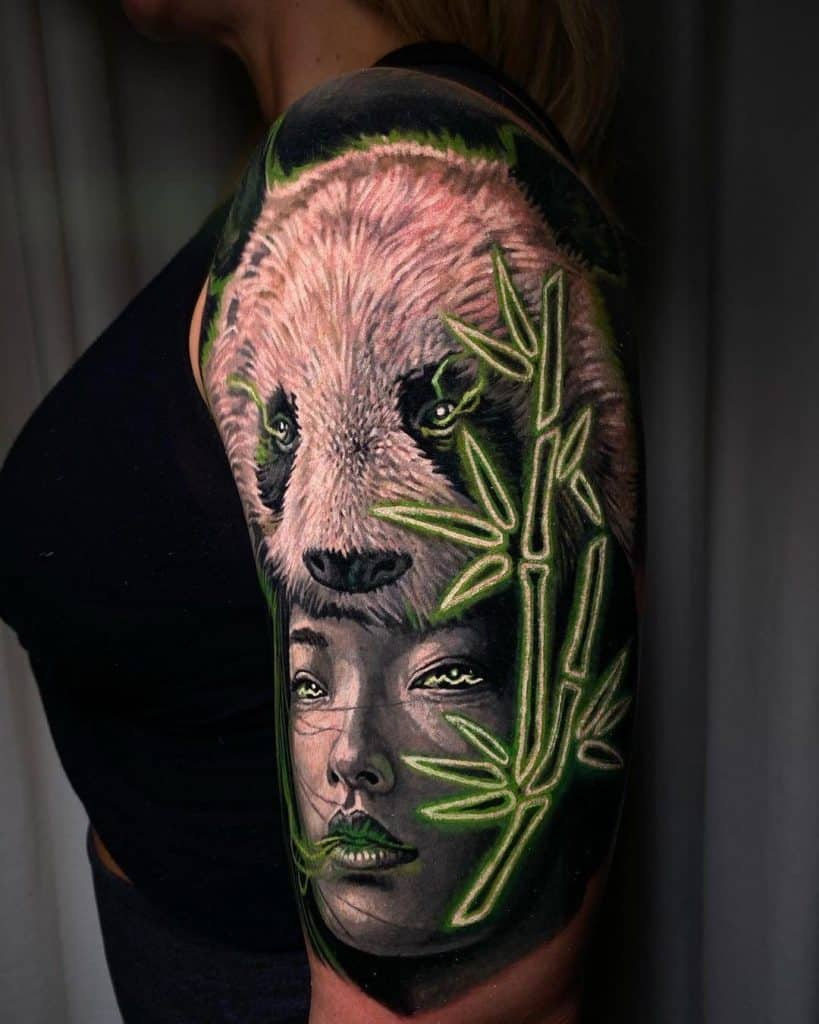 Shoulder Electric Panda Tattoo Green Design
