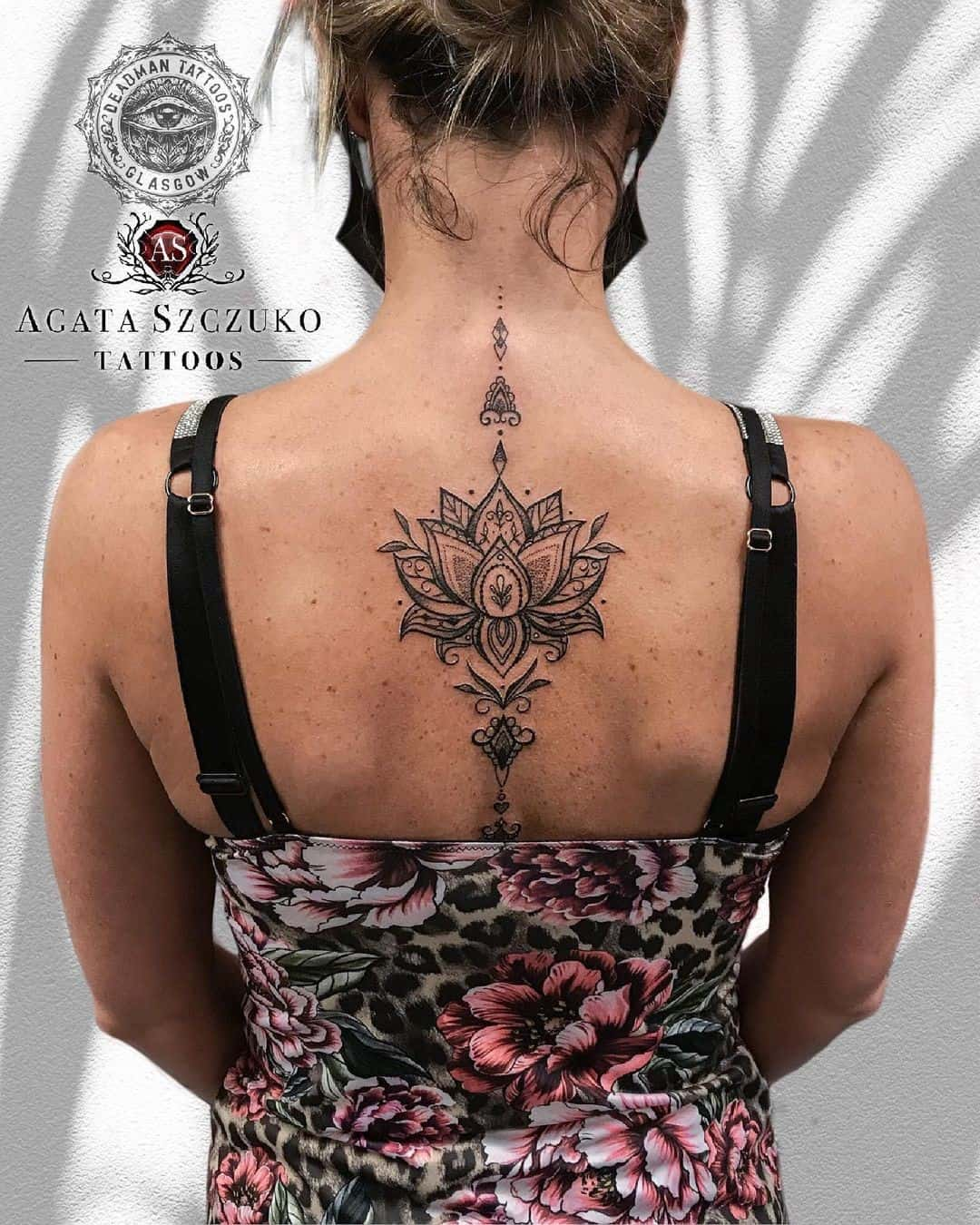 Spine Lotus Flower Tattoo