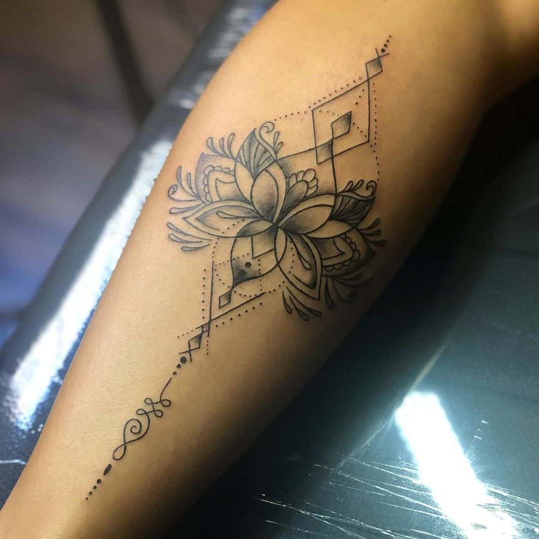 Stemmed Lotus Flower Tattoo