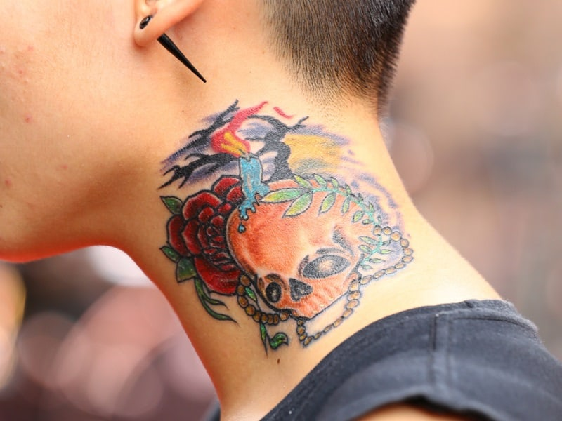 Sugar Skull Tattoos, saved tattoo, neck