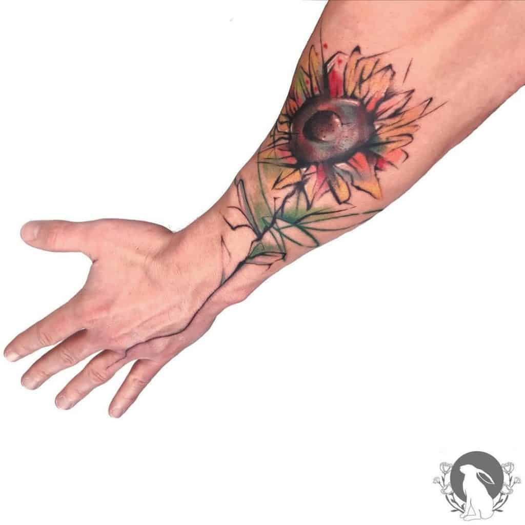 Sunflower Tattoo Design For Men