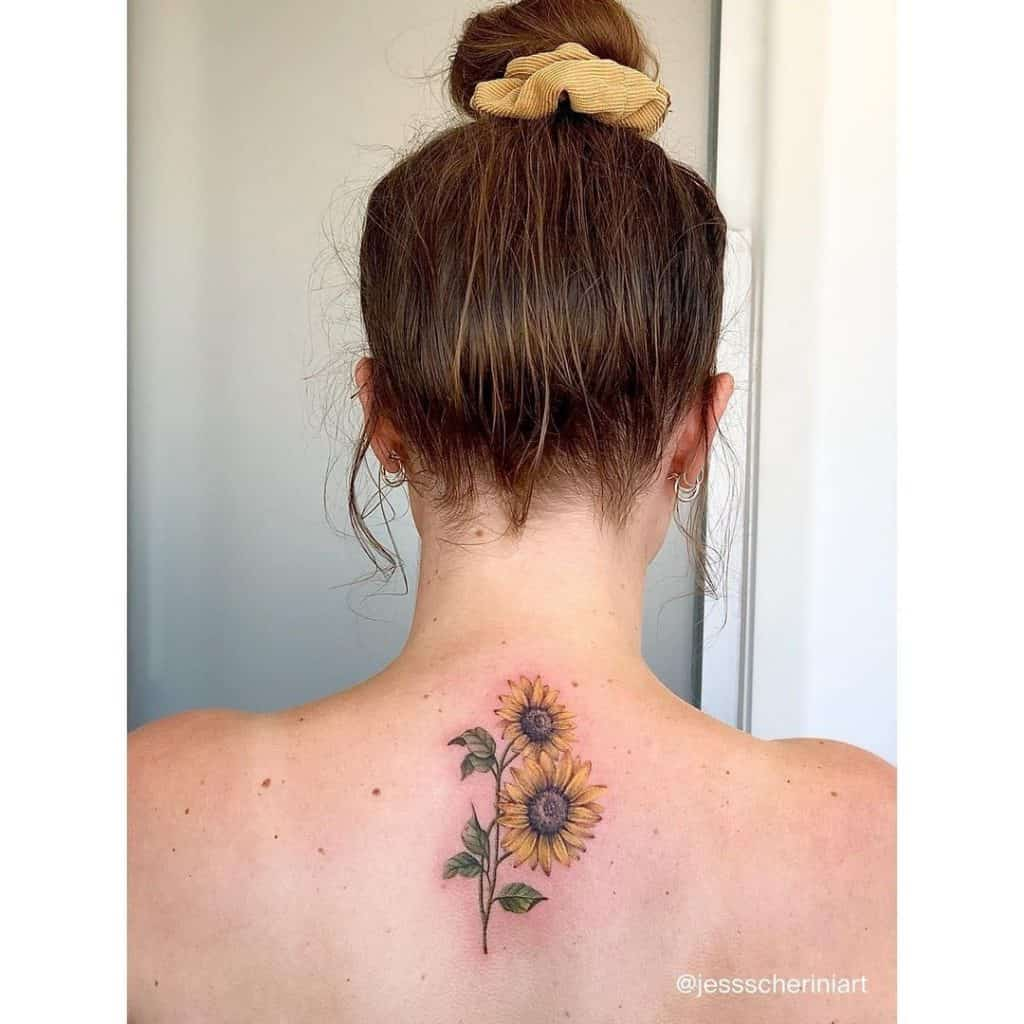 Sunflower Tattoo for back