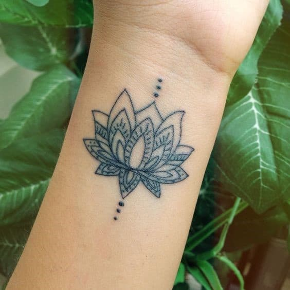 Wrist Lotus Flower Tattoo
