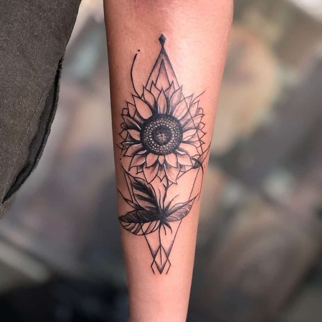 triangles sunflower tattoo