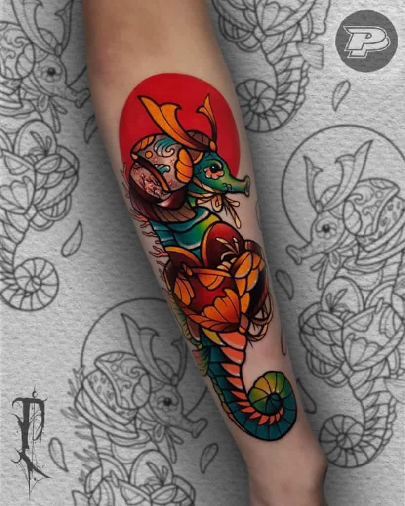 Bright & Noticeable Seahorse Tattoo