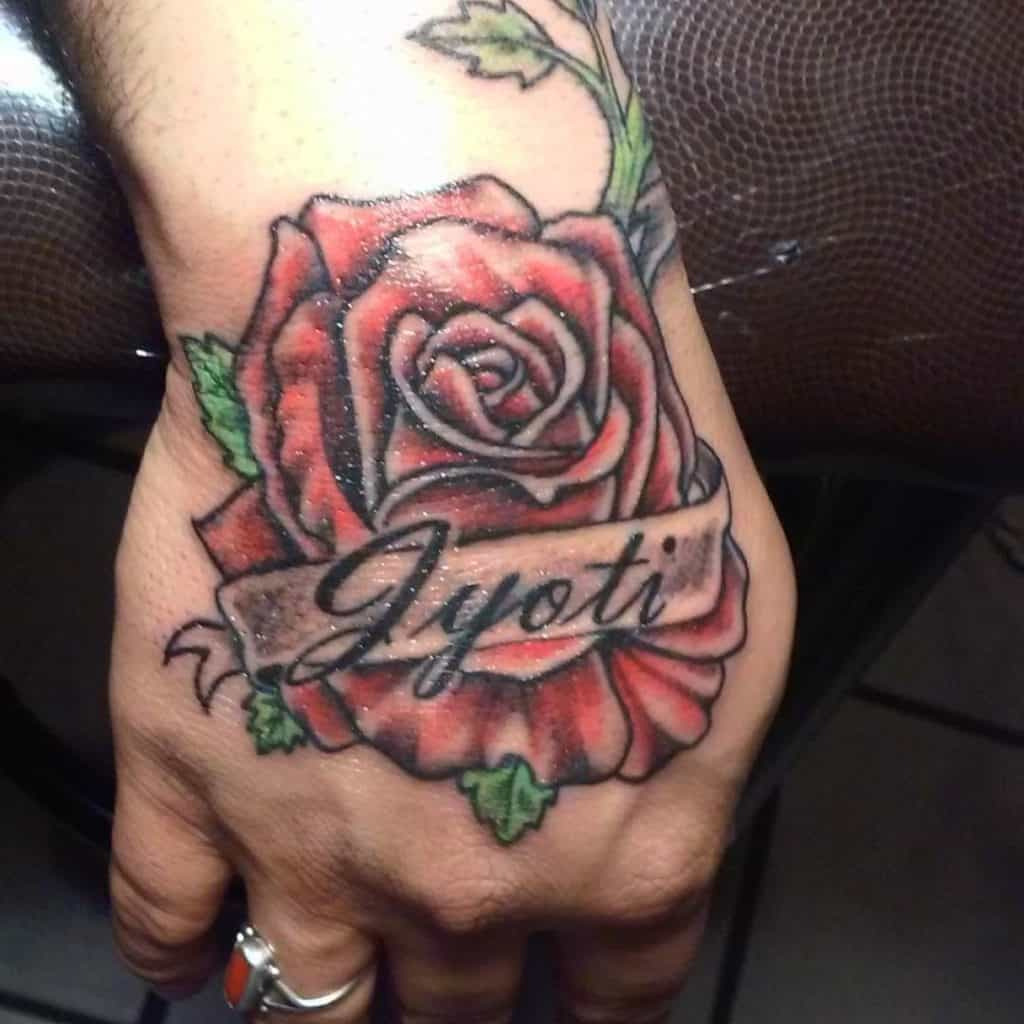 Fist Red Rose Tattoo With Name Ink