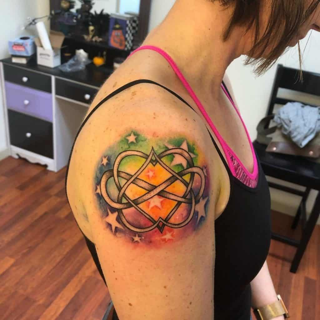 Infinity Heart Tattoo With Color