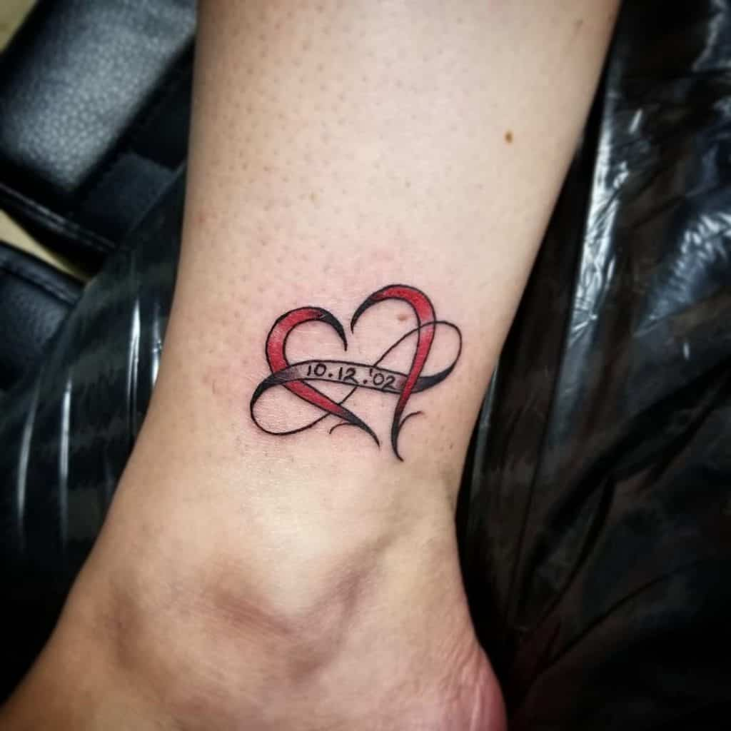 Infinity Heart Tattoo With Initials And A Name