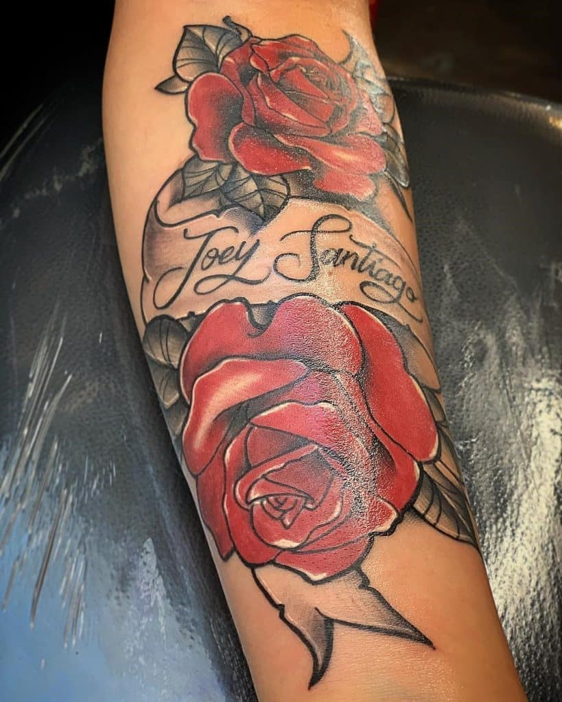 Rose Tattoo With Name Dedicated Tattoo