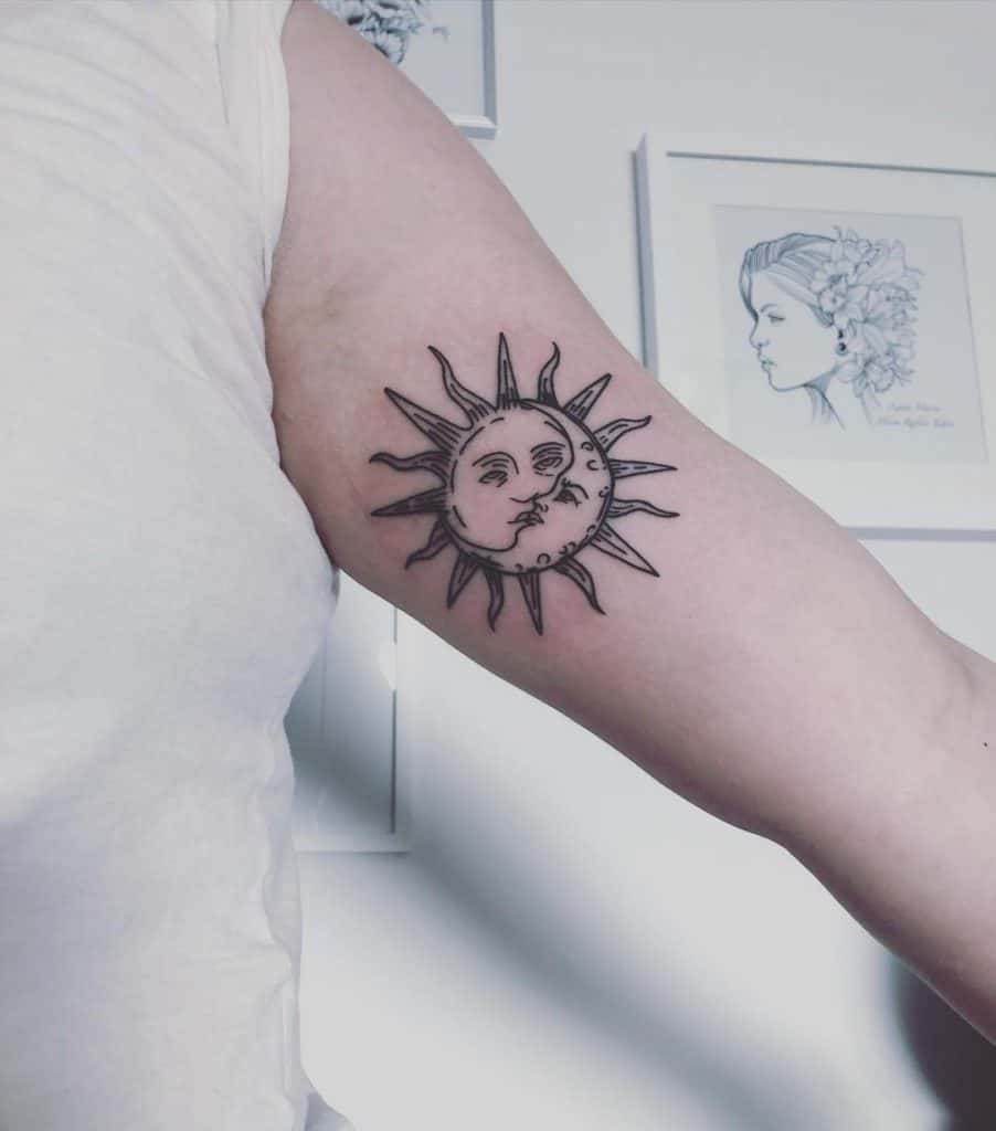 Sun and Moon Intertwined Tattoo Design