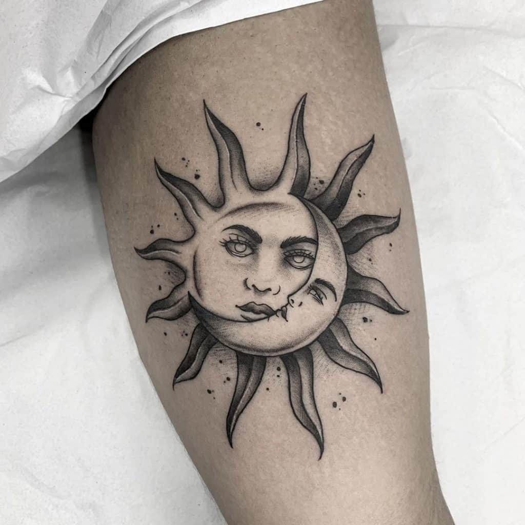 Sun and Moon With Faces Tattoo Design