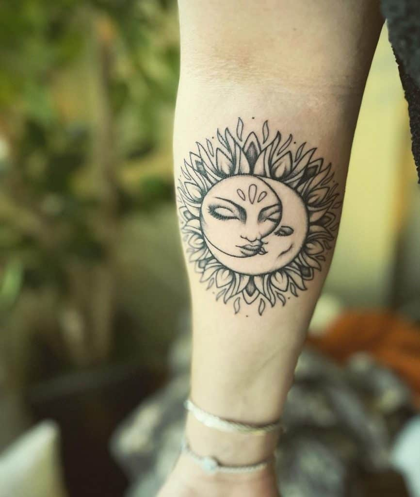 Sun and Moon With Faces Tattoo Design 2