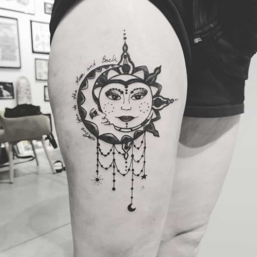 Sun and Moon With Faces Tattoo Design 4