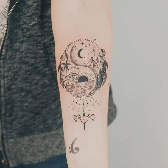 The Sun and Moon Yin Yang Tattoo Design 4