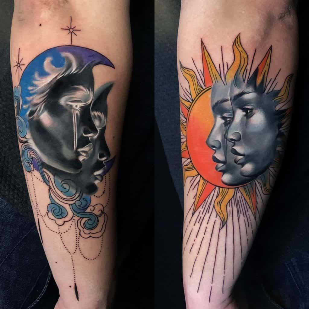 Unique Sun and Moon Tattoo Designs 5