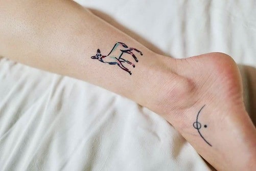 A colorful Simplistic Deer Tattoo