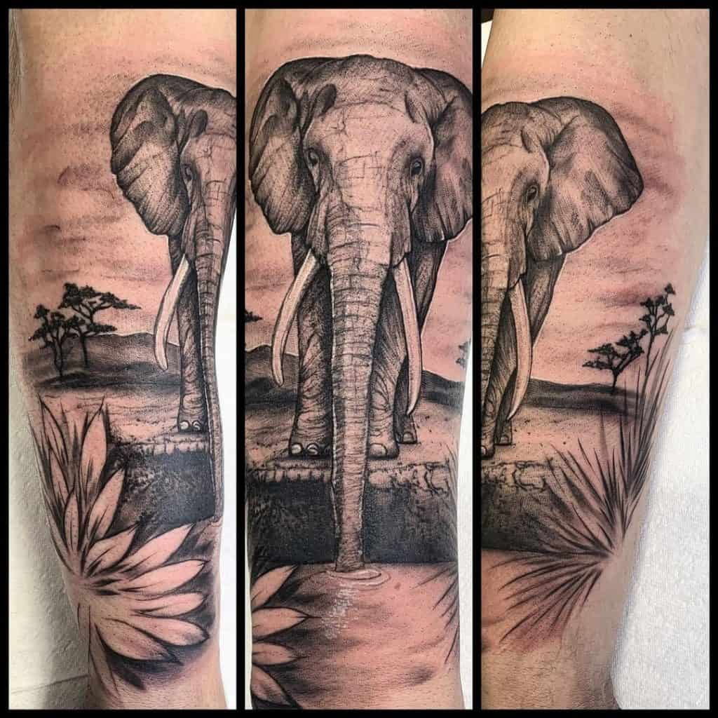 African Elephant Tattoo Design