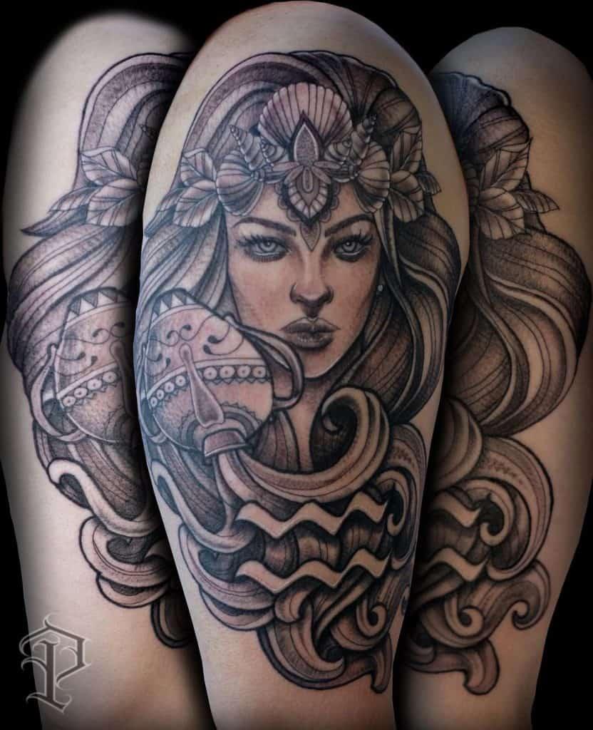 Aquarius Tattoo For Female