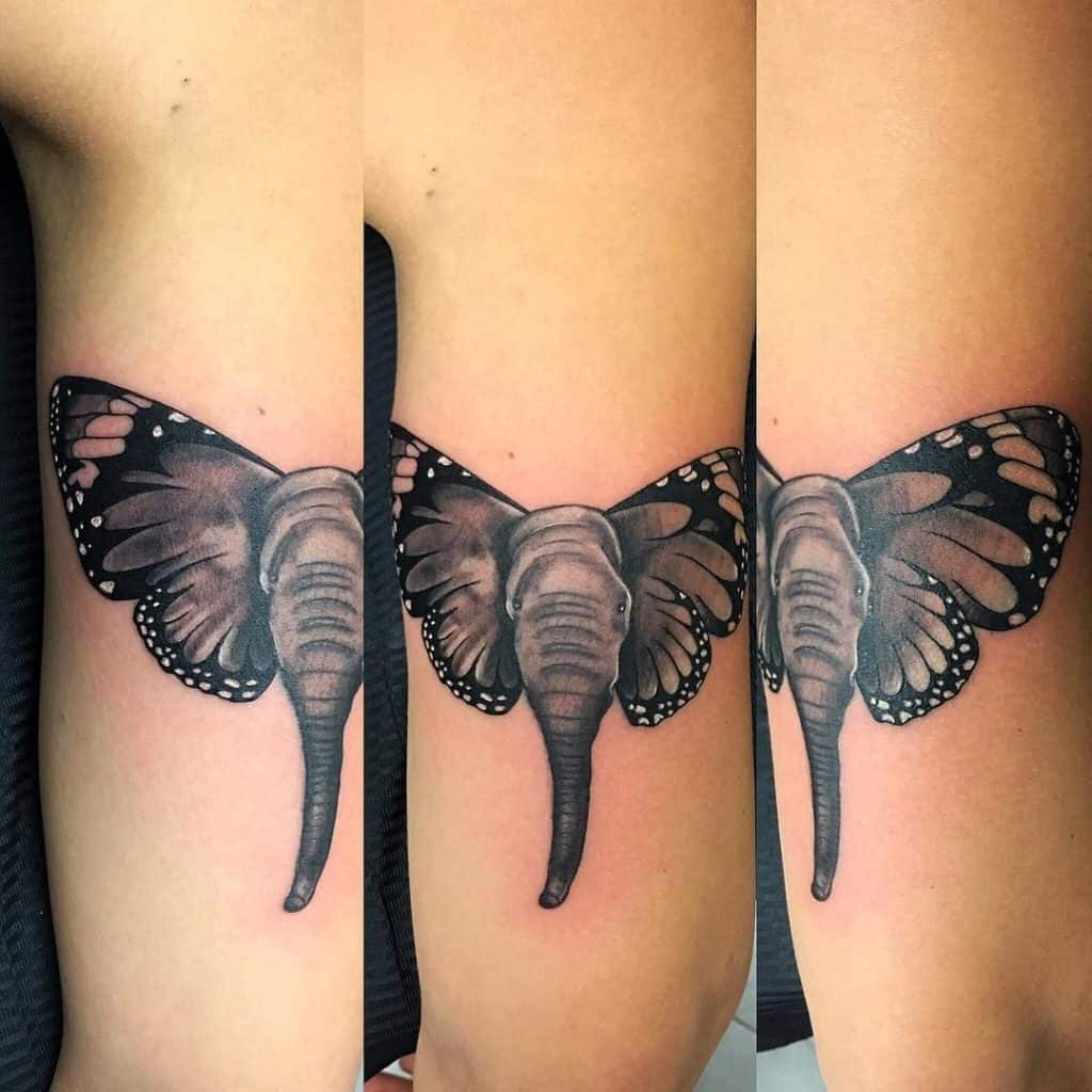 Black Elephant Butterfly Tattoo