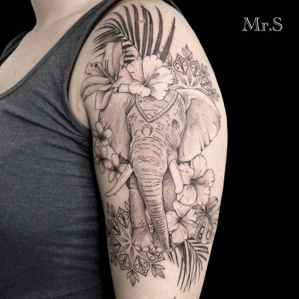 Black and Gray Elephant Tattoo with Flowers