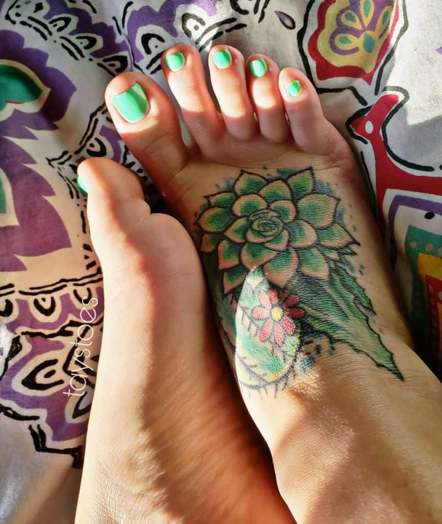 Bright Green Foot Tattoo Mandala
