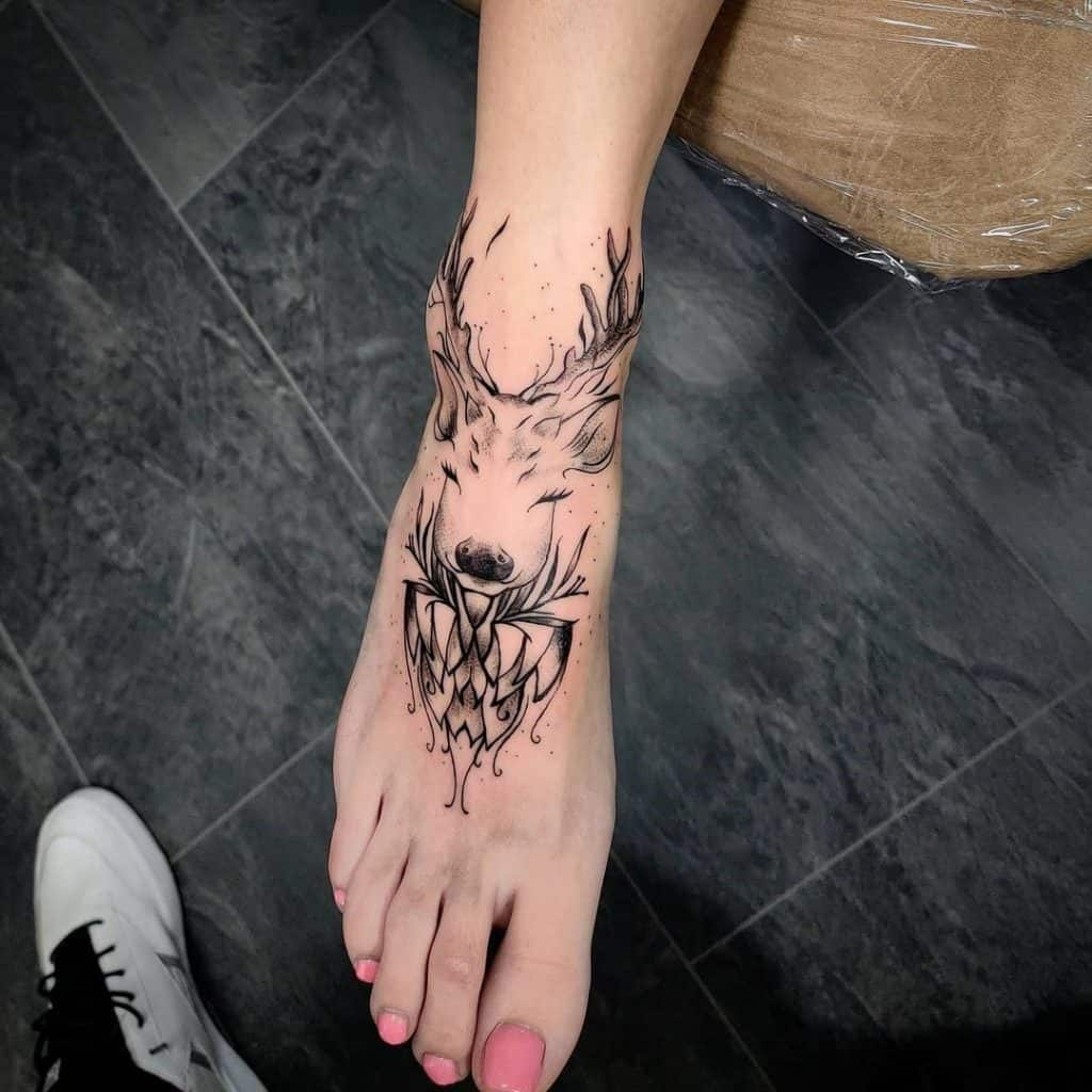 Deer Head Tattoo On The Foot