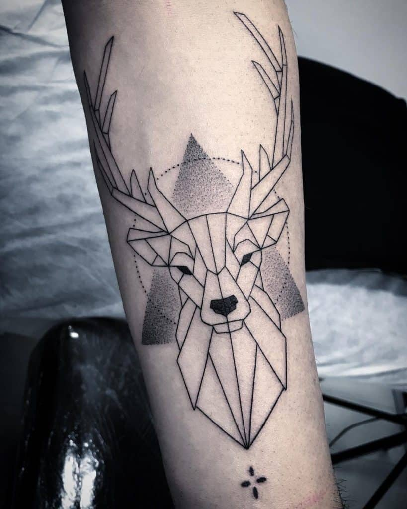 Deer Head Tattoo with Triangle