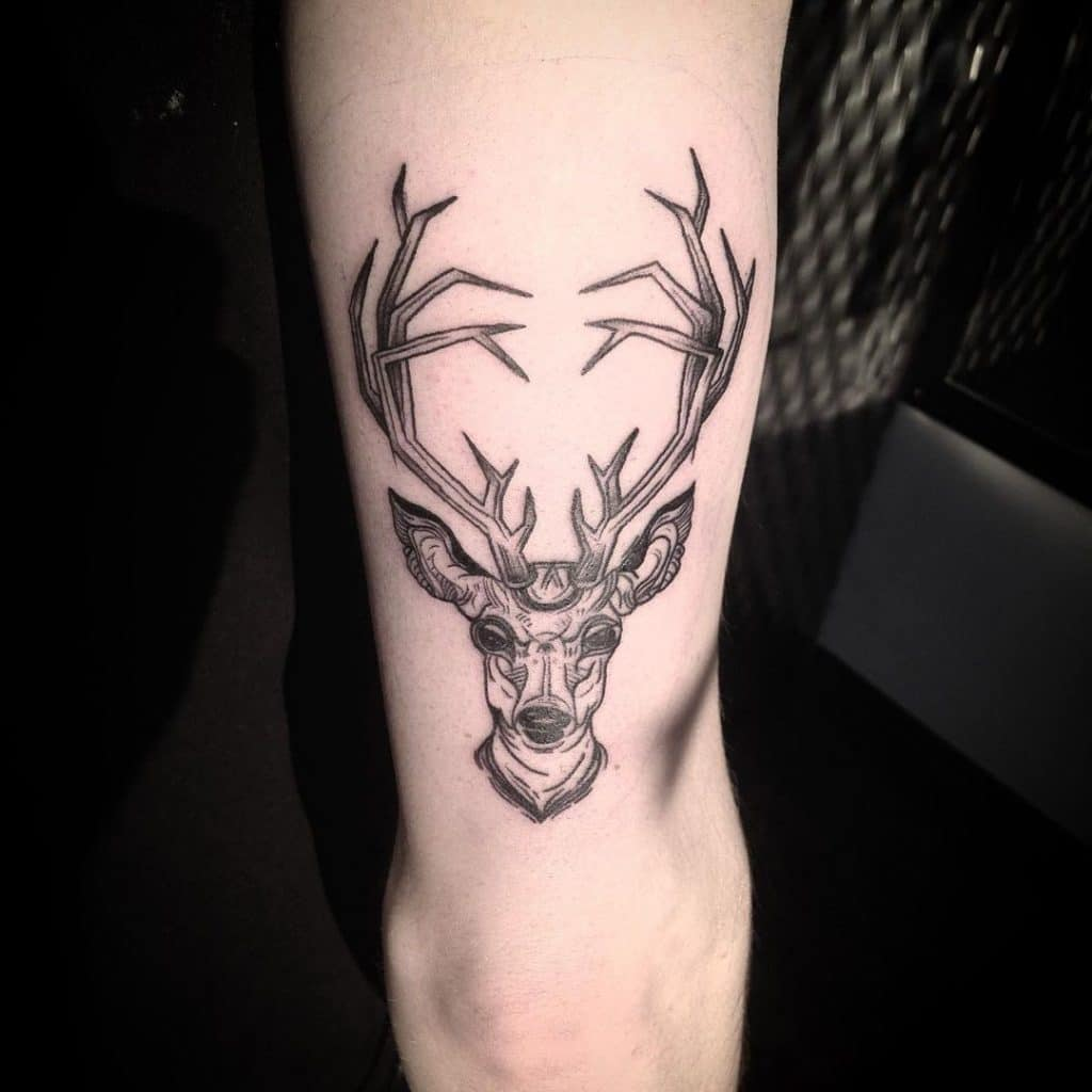 Deer Head Tattoo with long Antlers