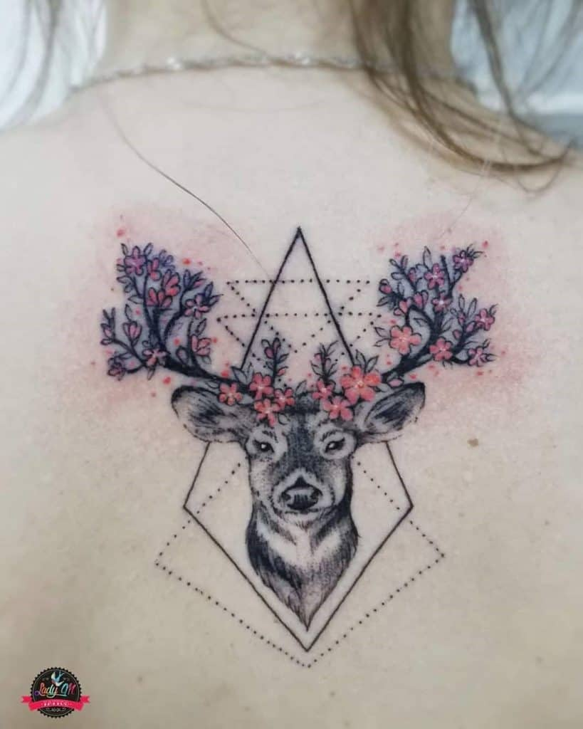 Deer Head and Flowers Tattoo
