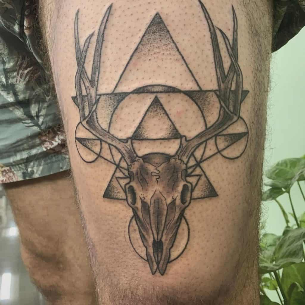 Deer Skull Tattoo with Circle and Triangle