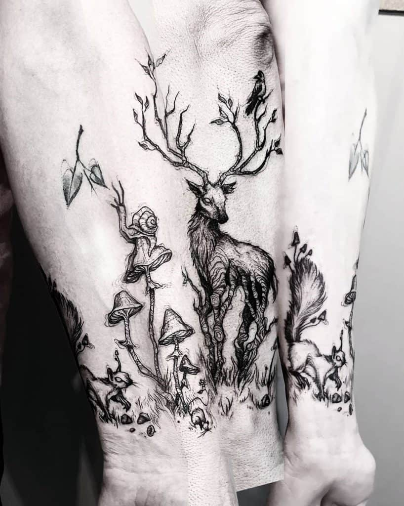 Deer and mushroom tattoos