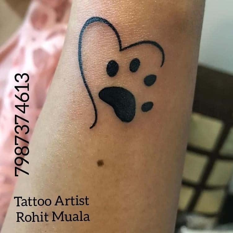 Dog Paw Tattoo With A Artistic Heart